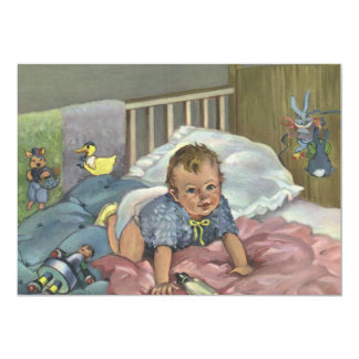 Vintage Child, Cute Baby Playing in Crib, Nap Time Card