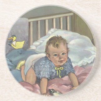 Vintage Child, Cute Baby Playing in Crib, Nap Time Coaster