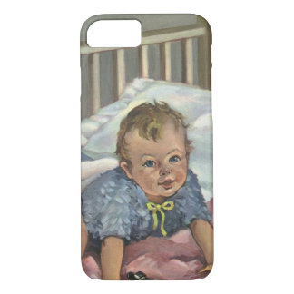 Vintage Child, Cute Baby Playing in Crib, Nap Time iPhone 8/7 Case