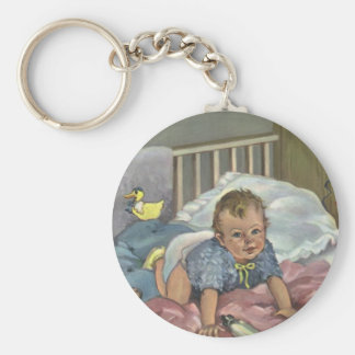 Vintage Child, Cute Baby Playing in Crib, Nap Time Keychain