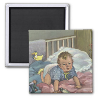 Vintage Child, Cute Baby Playing in Crib, Nap Time Magnet