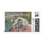 Vintage Child, Cute Baby Playing in Crib, Nap Time Postage
