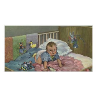 Vintage Child, Cute Baby Playing in Crib, Nap Time Poster