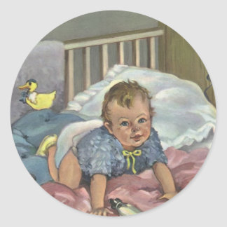 Vintage Child, Cute Baby Playing in Crib, Nap Time Stickers