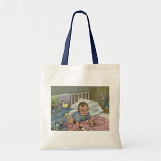 Vintage Child, Cute Baby Playing in Crib, Nap Time Tote Bag