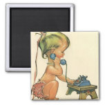 Vintage Child Cute Blond Girl Talking on Toy Phone 2 Inch Square Magnet
