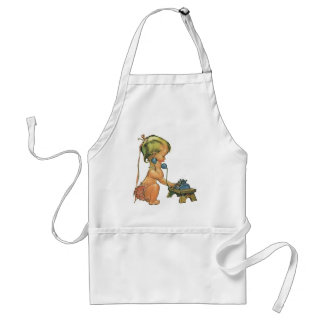 Vintage Child Cute Blond Girl Talking on Toy Phone Adult Apron