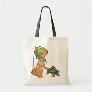 Vintage Child Cute Blond Girl Talking on Toy Phone Budget Tote Bag
