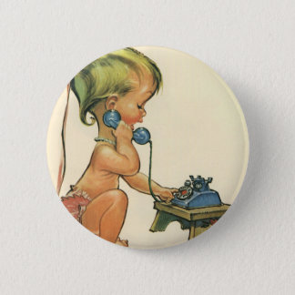 Vintage Child Cute Blond Girl Talking on Toy Phone Button