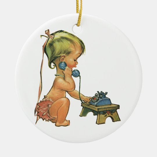 Vintage Child Cute Blond Girl Talking on Toy Phone Ceramic Ornament