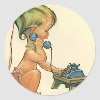 Vintage Child Cute Blond Girl Talking on Toy Phone Classic Round Sticker