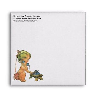 Vintage Child Cute Blond Girl Talking on Toy Phone Envelope