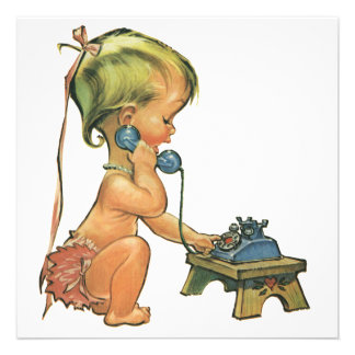 Vintage Child Cute Blond Girl Talking on Toy Phone Personalized Invites