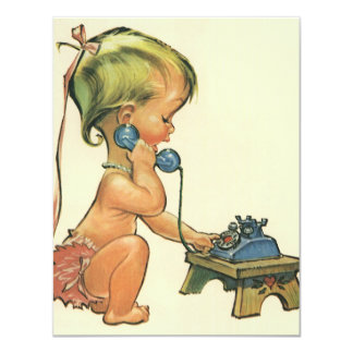 Vintage Child Cute Blond Girl Talking on Toy Phone 4.25x5.5 Paper Invitation Card