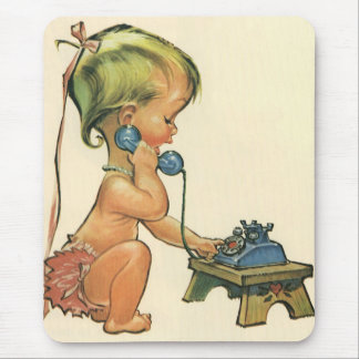 Vintage Child Cute Blond Girl Talking on Toy Phone Mouse Pad