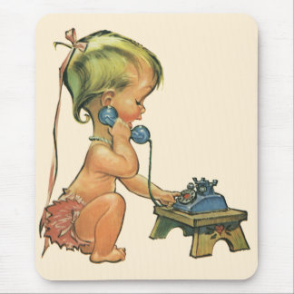 Vintage Child Cute Blond Girl Talking on Toy Phone Mouse Pads