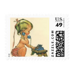 Vintage Child Cute Blond Girl Talking on Toy Phone Stamp
