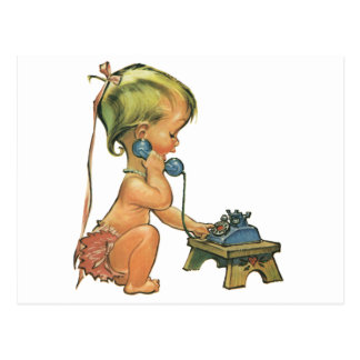 Vintage Child Cute Blond Girl Talking on Toy Phone Postcard