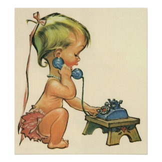 Vintage Child Cute Blond Girl Talking on Toy Phone Poster