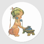 Vintage Child Cute Blond Girl Talking on Toy Phone Round Stickers