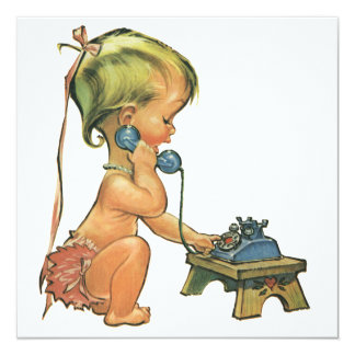 Vintage Child Cute Girl on Toy Phone Invitation