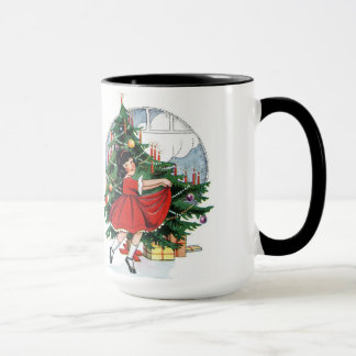 Vintage Child Dancing at Christmas Tree Mug