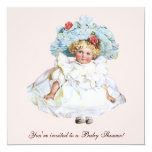 "Vintage Child, Girl, Baby Shower Invitation 5.25"" Square Invitation Card"