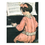Vintage Child, Girl Playing Piano Birthday Party Invitations