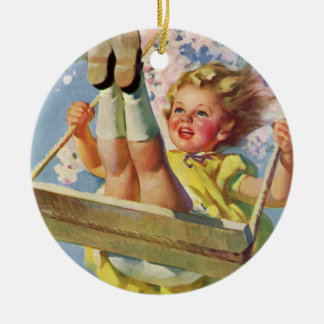 Vintage Child, Girl Swinging on a Tree Swing Play Ceramic Ornament
