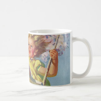 Vintage Child, Girl Swinging on a Tree Swing Play Classic White Coffee Mug