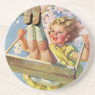 Vintage Child, Girl Swinging on a Tree Swing Play Coaster