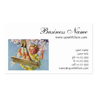 Vintage Child, Girl Swinging on a Tree Swing Play Double-Sided Standard Business Cards (Pack Of 100)
