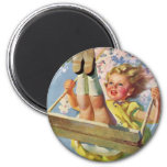 Vintage Child, Girl Swinging on a Tree Swing Play 2 Inch Round Magnet