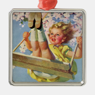 Vintage Child, Girl Swinging on a Tree Swing Play Metal Ornament