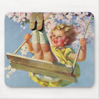 Vintage Child, Girl Swinging on a Tree Swing Play Mouse Pad