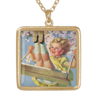 Vintage Child, Girl Swinging on a Tree Swing Play Square Pendant Necklace