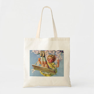 Vintage Child, Girl Swinging on a Tree Swing Play Tote Bag