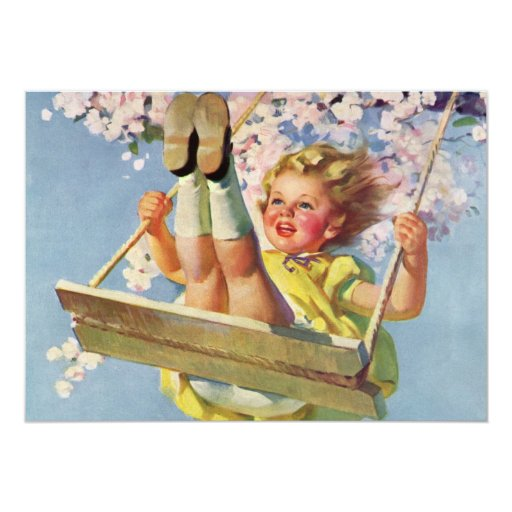 Vintage Child, Girl Swinging on Tree Swing, Spring Announcements