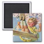 Vintage Child, Girl Swinging on Tree Swing, Spring Refrigerator Magnets