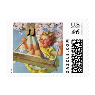 Vintage Child, Girl Swinging on Tree Swing, Spring Stamps
