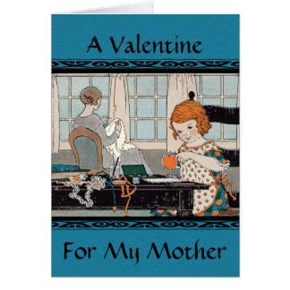 Vintage Child Girl Valentine for Mother Card