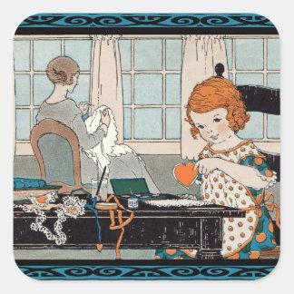 Vintage Child Girl Valentine for Mother Square Sticker