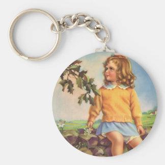 Vintage Child, Girl Watching Birds in Tree, Spring Key Chain