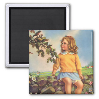 Vintage Child, Girl Watching Birds in Tree, Spring Magnet