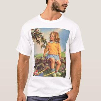 Vintage Child, Girl Watching Birds in Tree, Spring T-Shirt