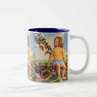 Vintage Child, Girl Watching Birds in Tree, Spring Two-Tone Coffee Mug