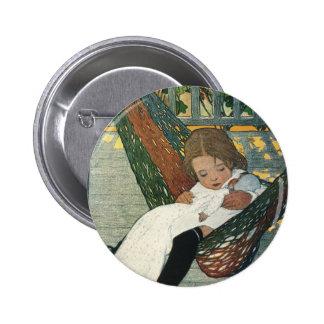 Vintage Child Hammock Doll; Jessie Willcox Smith 2 Inch Round Button