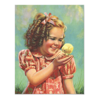 Vintage Child, Happy Smile, Girl with Baby Chick Card