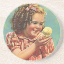 Vintage Child, Happy Smile, Girl with Baby Chick Drink Coaster