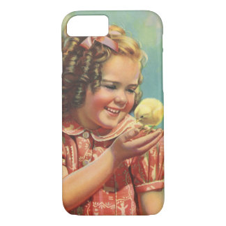 Vintage Child, Happy Smile, Girl with Baby Chick iPhone 7 Case